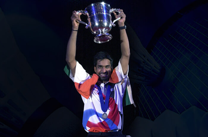 Young Pullela Gopichand with his All England Badminton Championship Trophy rare image