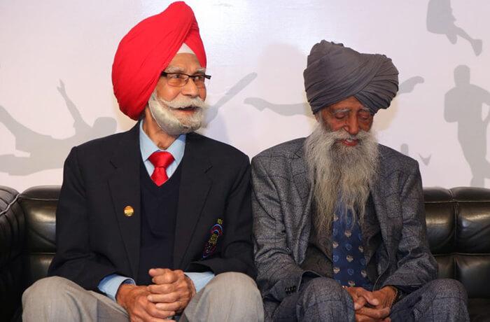Balbir Singh Sr. with Fauja Singh