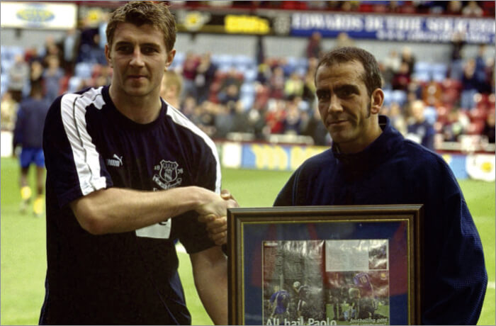 Paolo di Canio of West Ham with a special award for his noble cause at the Premier League match with Everton in 2001