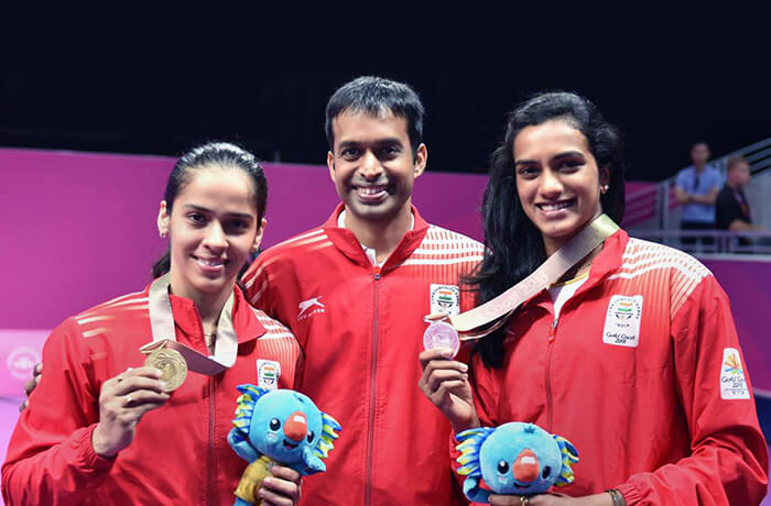 Pullela Gopichand with her Badminton Queens Saina Nehwal and P.V. Sindhu