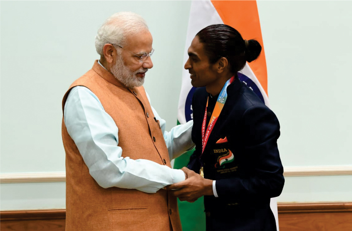 Para Badminton player Pramod Bhagat with PM Narendra Modi