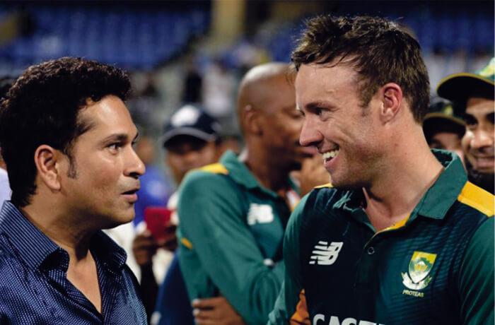 A B de Villiers with Master Blaster Sachin Tendulkar rare image