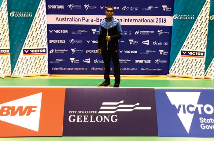Pramod Bhagat at the Australian Para Badminton International 2018