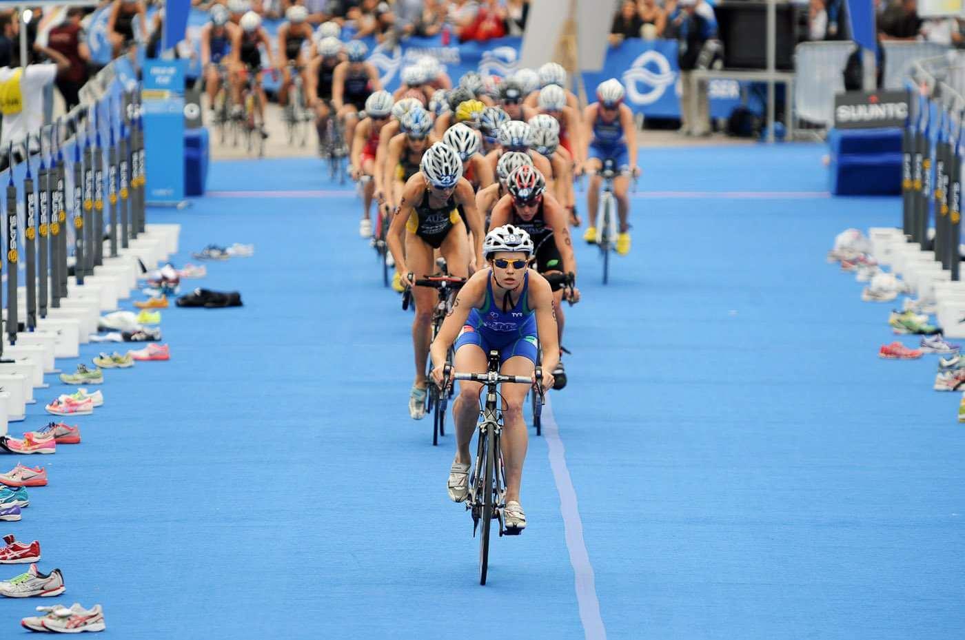 Triathlon cycling and running track