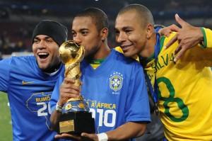 Elano,Robinho and Gilberto Silva