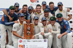 Australia celebrate their 1-0 Test series win in Sri Lanka
