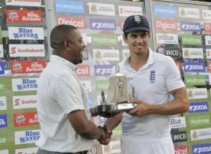 Alastair Cook with Wisden Trophy