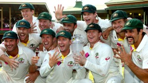 Australian Team with The Ashes Trophy