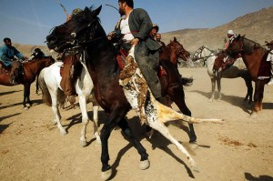 Afghan players playing Buzkashi
