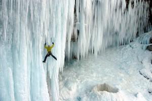 Aljaz Anderle climbing on Pericnik icefall, Julian Alps, Slovenia