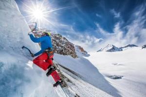 Ice climbing route at Pitztaler Gletscher