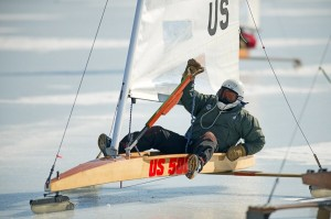 Ice boating athlete in action