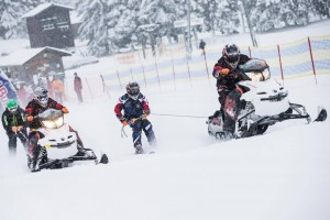 Skijoring with a motor-vehicle