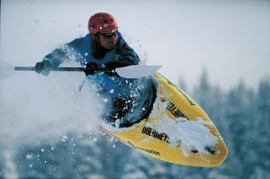 Snow Kayaking athlete in action