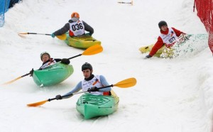 Snow kayaking competition in Lithuania
