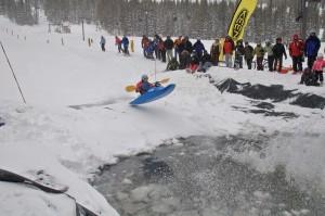 Snow kayaking Monarch Mountain jump