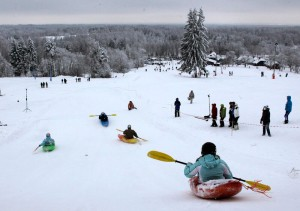 Snow Kayaking competition