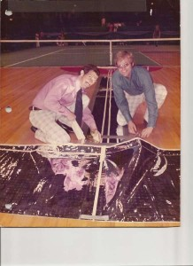The Mylar sensors used beneath the carpet to detect where the ball landed for the first computerized, electronic line judge device