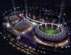 Stadium's top view at night