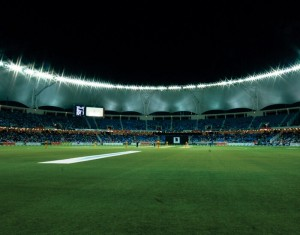 The glittering stadium at night