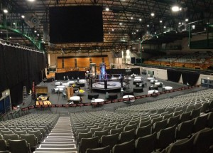 Arena prepared for boxing match