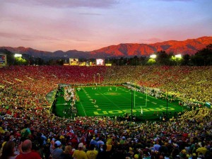 Rose Bowl Stadium evening view