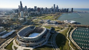 Aerial view of Soldier Field